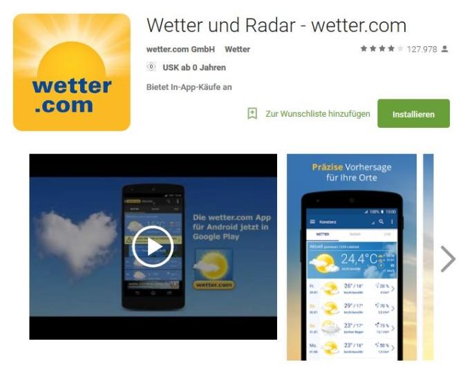 Wetter-App von wetter.com