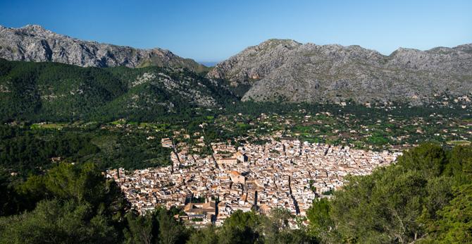 Blick auf Pollenca vom Kloster Puig de Maria