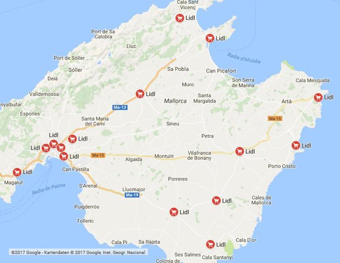 Lidl Supermärkte auf Mallorca
